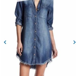Anthropologie Dresses - Anthro Cloth And Stone Fringe Chambray Dress XS